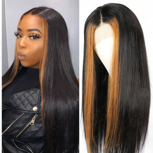 Hot Beauty Hair Ombre Color Highlight Straight Frontal Lace Human Wigs