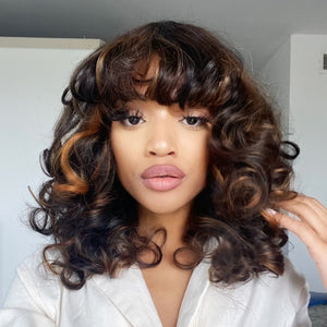 Hot Beauty Hair Super Double Draw Jenny Curl Wig With Bang