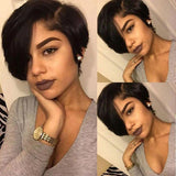 Hot Beauty Hair Short Pixie Cut Frontal Lace Wig Natural Black