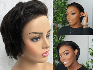 Short Pixie Cut Full Lace Wig Virgin Human Hair Straight