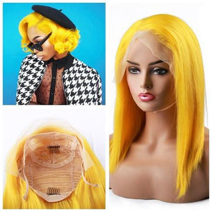 Yellow Bob Wig Frontal Lace 100% Virgin Human Hair