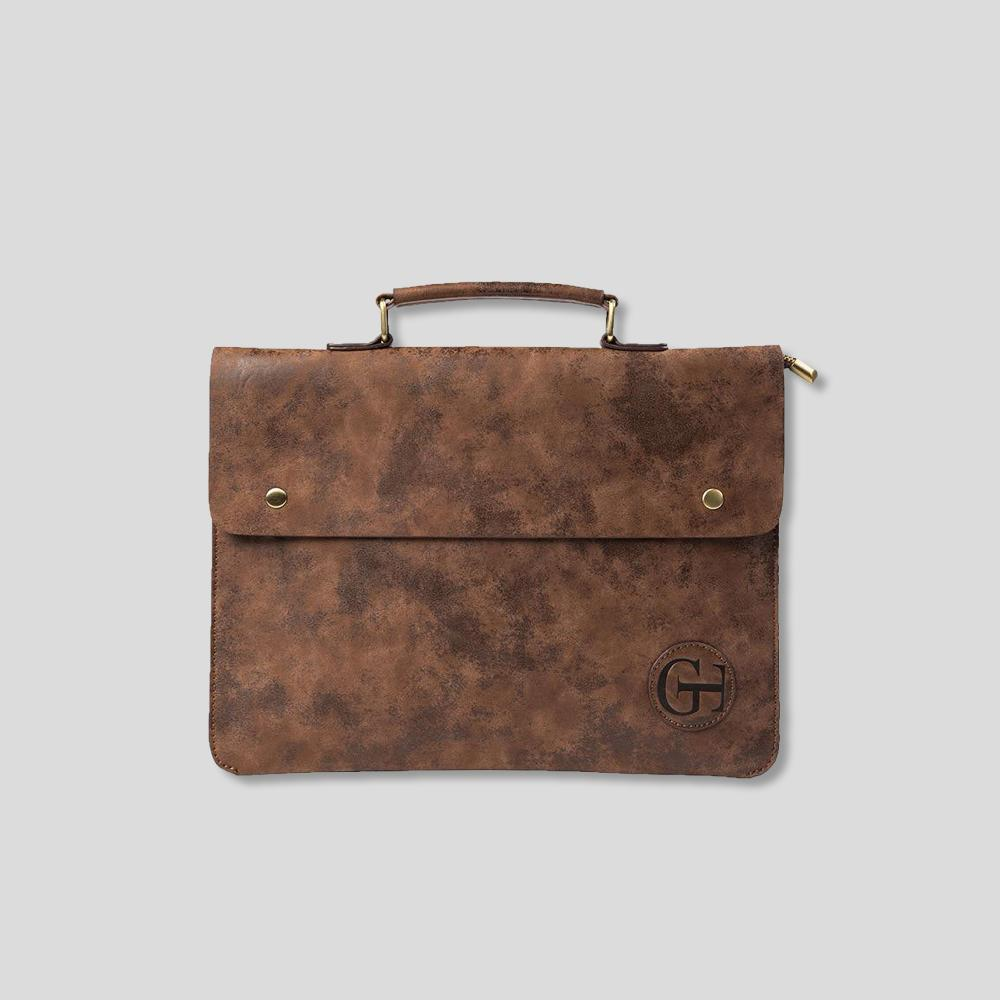 Rustic George Truman Leather Briefcase