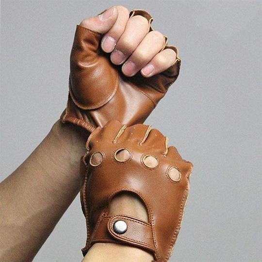 Cropped Riding Leather Gloves