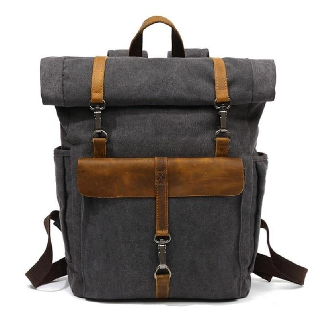 CANVAS LEATHER BACKPACK