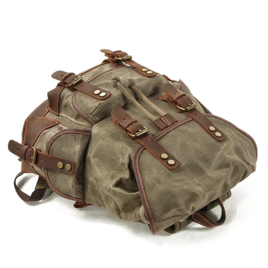 VINTAGE CANVAS LEATHER WATERPROOF BACKPACK