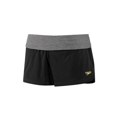 Speedo Heathered Stretch Short Black LG