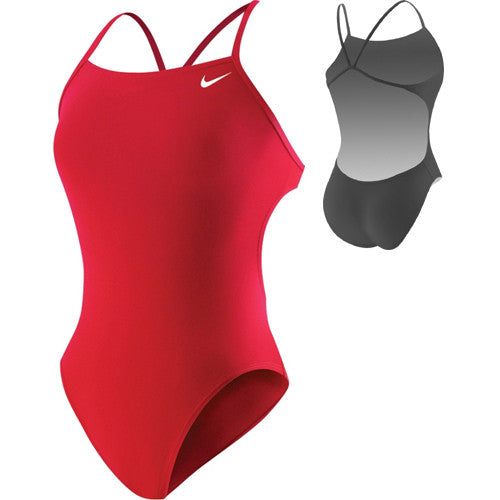 Nike Solid Cut Out Tank Swimsuit Red 24