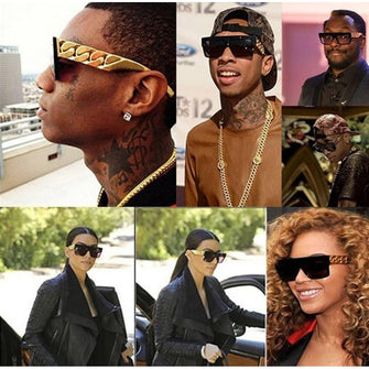 Unisex 'Tyga Rick Ross Beyonce' Gold Chain Sunglasses Astroshadez-Sunglasses-Astroshadez-ASTROSHADEZ.COM