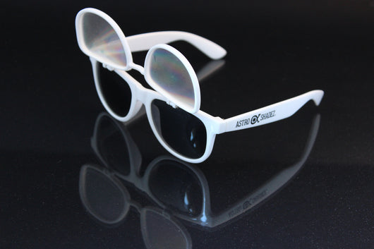 White Flip Diffraction Glasses (SPIRAL DIFFRACTION) Astroshadez-Glasses-Astroshadez-Spiral Diffraction (Weaker)-ASTROSHADEZ.COM