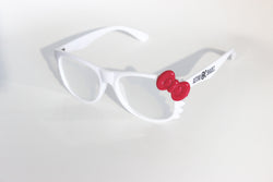 White Kitty Frame w/ Spiral Diffraction Glasses