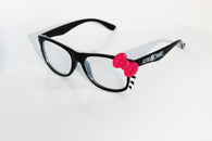 Black Kitty Frame w/ Clear Spiral Diffraction Glasses