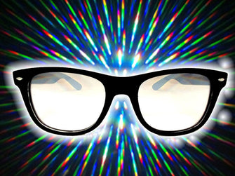 Black Frame w/ Clear Diffraction Glasses Astroshadez-Glasses-Astroshadez-Black-ASTROSHADEZ.COM