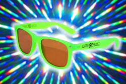 Green Glow-in-the-Dark w/ Amber Diffraction Glasses Astroshadez