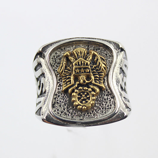 Stainless Steel US Army Ring Men's Silver Military Gold Plated USA-ASTROSHADEZ.COM-ASTROSHADEZ.COM