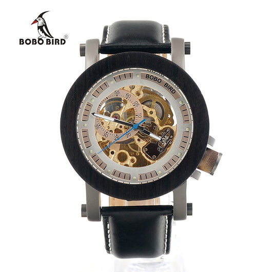 Mens Luxury Mechanical Skeleton Clear Circle Round Leather Wood Bamboo Watch-ASTROSHADEZ.COM-ASTROSHADEZ.COM
