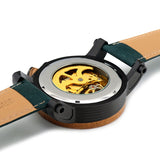 Mens Large Wood Bamboo Green Mechanical Clear Round Circle Watch-ASTROSHADEZ.COM-ASTROSHADEZ.COM
