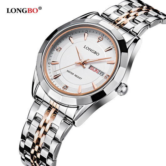 d95bdf1fb2f LONGBO Brand Movt Quartz Watches Women Stainless Steel Back Water Resistant  Datejust Mens Wrist Watches relogio