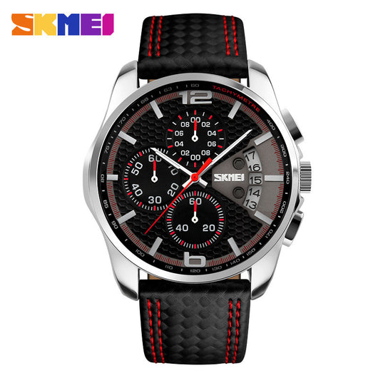 New Fashion SKMEI Men Watches Analog Quartz Wristwatch Waterproof Chronograph Auto Date Leather Band Relogio Masculino 9106