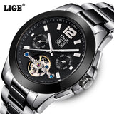 2016 Mens LIGE Brand Luxury Ceramic Automatic Watch men Fashion Casual Dive 50M Date Clcok Business Wrist watches reloj hombre