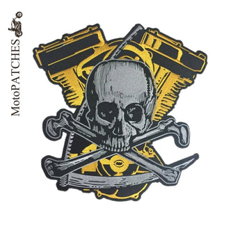 SKULL BONES CROSS GOLD SILVER MC MOTORCYCLE BIKE IRON PATCH LARGE-ASTROSHADEZ.COM-ASTROSHADEZ.COM