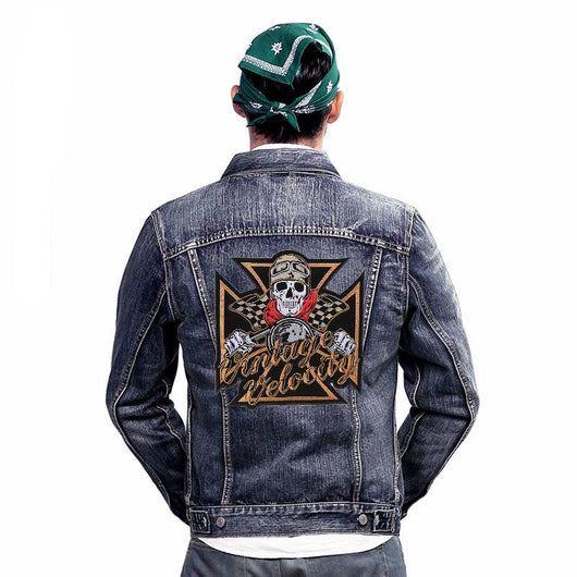 VINTAGE VELOCITY MC Biker Patch Set Iron On Vest Jacket Rocker Hells LARGE-ASTROSHADEZ.COM-ASTROSHADEZ.COM