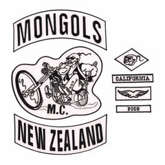 MONGOLS NEW ZEALAND MC Biker Patch Set Iron On Vest Jacket Rocker-ASTROSHADEZ.COM-ASTROSHADEZ.COM