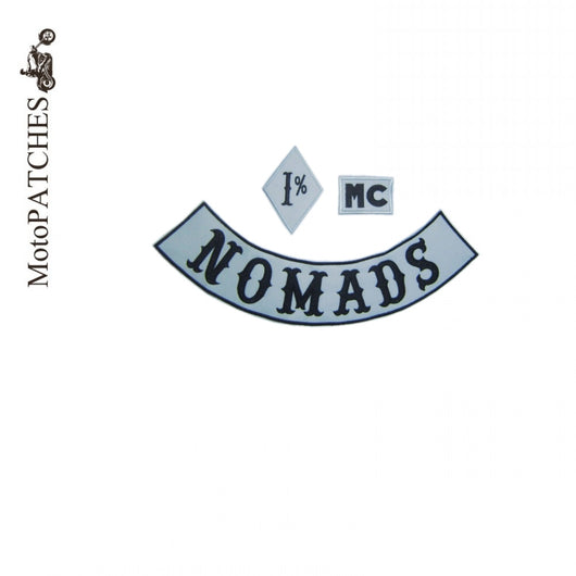 NOMADS 1% MC BLACK GRAY BIKER PATCH SET IRON ON VEST JACKET-ASTROSHADEZ.COM-ASTROSHADEZ.COM