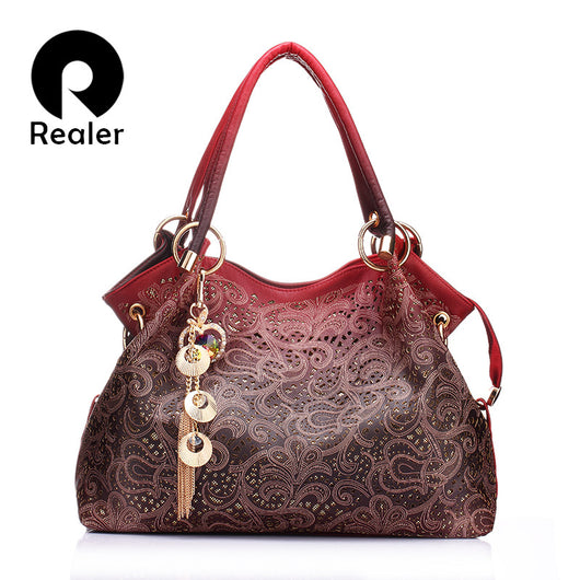 women bag hollow out ombre handbag floral print shoulder bags ladies pu leather tote bag red/gray/blue