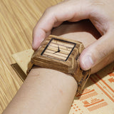 Mens Square Brown Wood Bamboo Analog Eco Watch with Gift Box-ASTROSHADEZ.COM-ASTROSHADEZ.COM