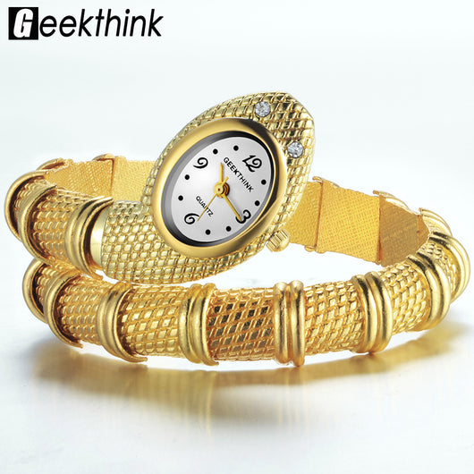 GEEKTHINK 2017 Brand Unique Design Snake Shaped Bracelet Style Watch Woman fashion ladies Diamond Ornaments Gfit Casual watch-ASTROSHADEZ.COM-ASTROSHADEZ.COM