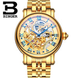 Switzerland BINGER Luxury Gold Automatic Watches Skeleton Fashion Watch  Men Mechanical Wristwatch Full Steel relogio masculino