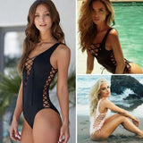 Ladies Brazilian One-Piece Swimsuit Lace Up Bikini Push Up Padding Swimwear Women Summer Suit Monokini Swimsuit Bathing Suit US-ASTROSHADEZ.COM-ASTROSHADEZ.COM
