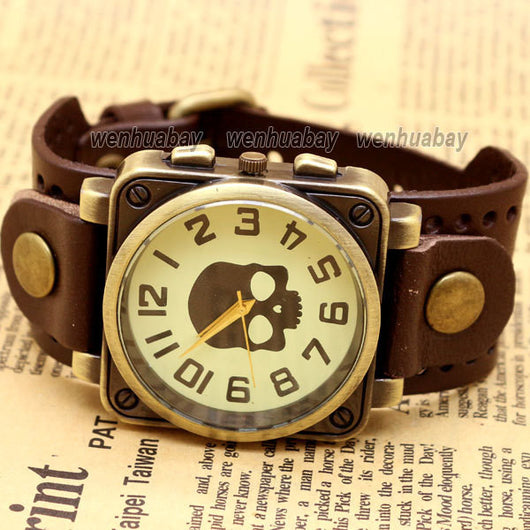 Vintage Black Leather Band Bracelet Quartz Wrist Skull Casual Watch Men Boy Retro Dark Brown-ASTROSHADEZ.COM-ASTROSHADEZ.COM