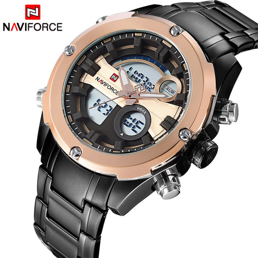 2017 NEW FASHION Luxury Brand NAVIFORCE Men Sports Watches Mens Quartz Digital Clock Male Military Waterproof Full Steel Watch-ASTROSHADEZ.COM-ASTROSHADEZ.COM