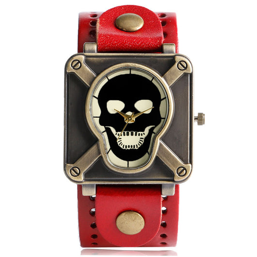 Fashion Women Watches Special Design Skull Face Gothic Style Red Leather Strap Stylish Quartz Wristwatch Square Montre Femme-ASTROSHADEZ.COM-ASTROSHADEZ.COM