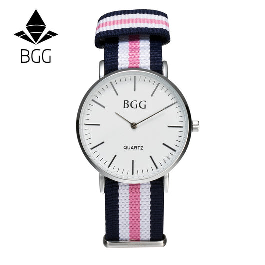 Classic Nylon stripes band Womens Watches 2016 BGG Brand Simple Ultra thin Quartz Watch Women Casual Wristwatch Clock-ASTROSHADEZ.COM-ASTROSHADEZ.COM