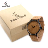 Womens Brown Black Wood Bamboo Round Circle Analog Eco Watch Cork Band-ASTROSHADEZ.COM-ASTROSHADEZ.COM