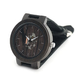 Mens Black Brown Wood Leather Round Circle Watch Mechanical Insides-ASTROSHADEZ.COM-ASTROSHADEZ.COM