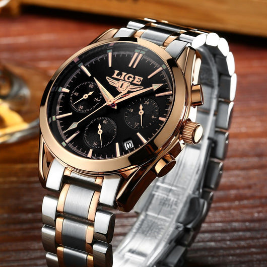 LIGE Top Luxury Brand Men Military Sport Watches Mens Quartz Clock Male Full Steel Casual Business WristWatch Relogio Masculion