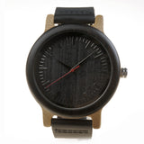Sleek Mens Wood Bamboo Circle Round Black Brown Leather Watch-ASTROSHADEZ.COM-ASTROSHADEZ.COM