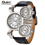 Mens Watches Top Brand Luxury Famous Tag Mens Military Watch 3 Time Zone Waterproof Men Clock Leather Quartz Watch Man-ASTROSHADEZ.COM-White-ASTROSHADEZ.COM