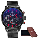 2016 Mens NAVIFORCE Luxury Brand Analog Quartz Watch Man 3ATM Waterproof Fashion Casual Sport Watches Men full steel Wristwatch-ASTROSHADEZ.COM-red-ASTROSHADEZ.COM