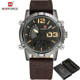 NAVIFORCE Fashion Luxury Brand Men Waterproof Military Sports Watches Mens Quartz Digital Leather Wrist Watch relogio masculino-ASTROSHADEZ.COM-khaki-ASTROSHADEZ.COM