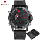 NAVIFORCE Fashion Luxury Brand Men Waterproof Military Sports Watches Mens Quartz Digital Leather Wrist Watch relogio masculino-ASTROSHADEZ.COM-Black Red-ASTROSHADEZ.COM