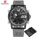 NAVIFORCE Fashion Luxury Brand Men Waterproof Military Sports Watches Mens Quartz Digital Leather Wrist Watch relogio masculino-ASTROSHADEZ.COM-Black Gray-ASTROSHADEZ.COM