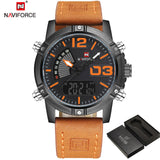 NAVIFORCE Fashion Luxury Brand Men Waterproof Military Sports Watches Mens Quartz Digital Leather Wrist Watch relogio masculino-ASTROSHADEZ.COM-Black Orange-ASTROSHADEZ.COM