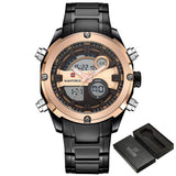 2017 NEW FASHION Luxury Brand NAVIFORCE Men Sports Watches Mens Quartz Digital Clock Male Military Waterproof Full Steel Watch-ASTROSHADEZ.COM-Black Gold-ASTROSHADEZ.COM