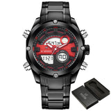 2017 NEW FASHION Luxury Brand NAVIFORCE Men Sports Watches Mens Quartz Digital Clock Male Military Waterproof Full Steel Watch-ASTROSHADEZ.COM-Black Red-ASTROSHADEZ.COM