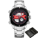 2017 NEW FASHION Luxury Brand NAVIFORCE Men Sports Watches Mens Quartz Digital Clock Male Military Waterproof Full Steel Watch-ASTROSHADEZ.COM-Silver Red-ASTROSHADEZ.COM