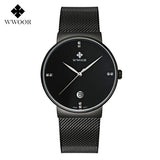 Fashion Simple Stylish Luxury brand WWOOR Watches Men Stainless Steel Mesh Strap Thin Dial Clock Man Casual Quartz-watch Black-ASTROSHADEZ.COM-Black-ASTROSHADEZ.COM